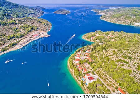 Town of Vela Luka on Korcula island church tower and coastline a Stock photo © xbrchx