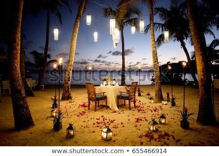 Restaurante areia praia azul céu noturno Foto stock © vapi