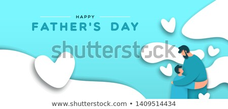 Fathers Day banner of paper cut dad and son hug Stock photo © cienpies