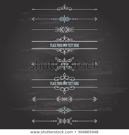 vector set of calligraphic and page decoration design elements on chalkboard background stock photo © blue-pen