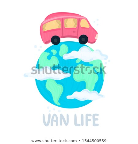 Van life concept. Campervan circling planet. Traveling across world. Earth in clouds. Red camper in  Stock photo © user_10144511