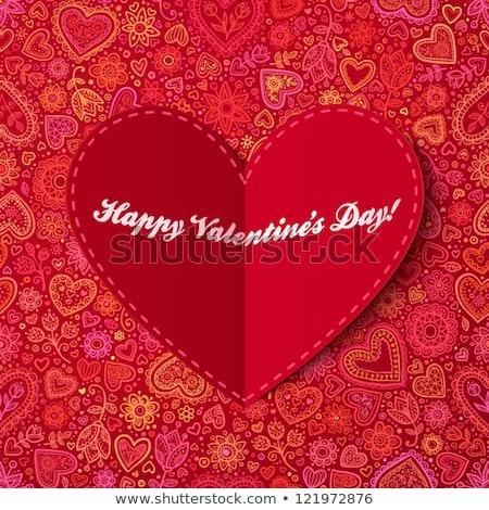 Sevgililer günü kart el yapımı kalpler tebrik kartı pembe Stok fotoğraf © karandaev