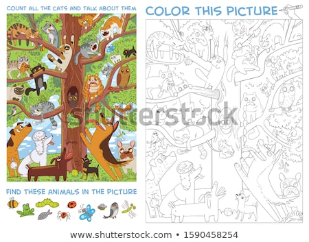 counting cats educational game color book Stock photo © izakowski