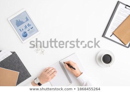 рук деловая женщина пер пустая страница ноутбук Сток-фото © pressmaster
