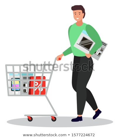 Person on Shopping Carrying Microwave Oven and Bag Stock photo © robuart