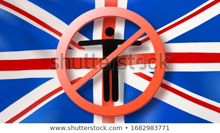 Prohibition sign with crossed out man on a background British flag. Stock photo © artjazz