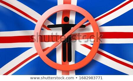 Imzalamak dışarı adam İngiliz bayrağı Stok fotoğraf © artjazz