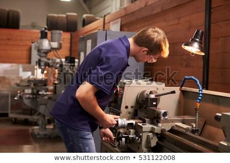kadın · işçi · Metal · atölye · matkap · çalışmak - stok fotoğraf © vladacanon