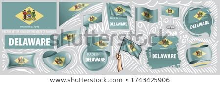 Wektora zestaw flagi amerykański Delaware inny Zdjęcia stock © butenkow