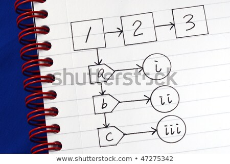 A Sample Flowchart For A General Procedure Isolated On Blue Stok fotoğraf © JohnKwan
