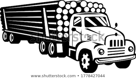 Vintage Logging Truck Log Truck Log Hauler or Timber Lorry Woodcut Black and White Stock photo © patrimonio