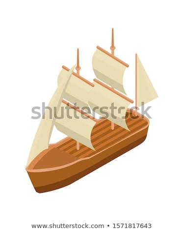 Kalóz vitorla csónak izometrikus ikon vektor Stock fotó © pikepicture