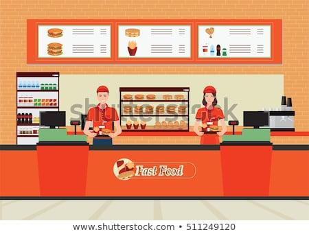 fast · food · pauze · portret · ernstig · zakenman · naar - stockfoto © pressmaster