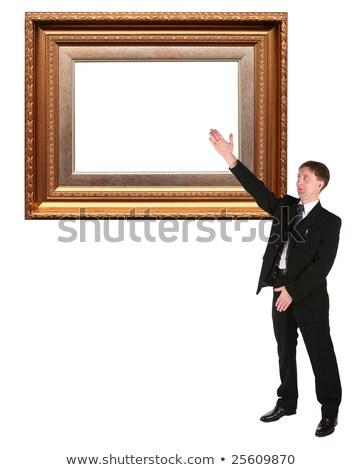 empresario · marco · de · imagen · collage · papel · madera · feliz - foto stock © Paha_L