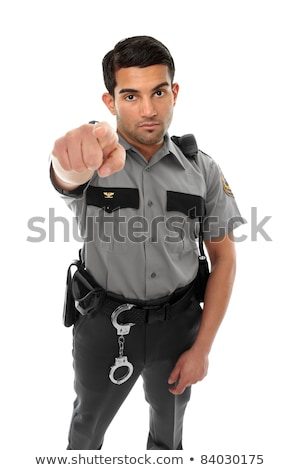 Security officer or warden pointing finger Stock photo © lovleah