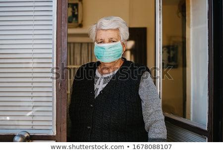 испуганный · старший · женщину · сирень · лице · красоту - Сток-фото © elenaphoto