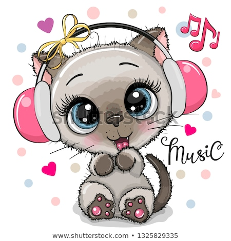Cute kitten with headphones - vector Stock photo © adrian_n