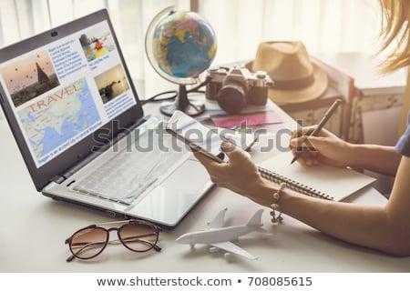viajar · planos · documentos · passaporte · companhia · aérea · bilhetes - foto stock © devon