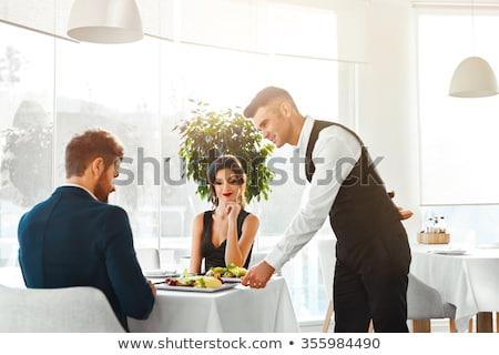 カップル ウェイター 食品 笑顔 ワイン 作業 ストックフォト © photography33