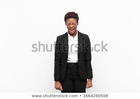 ethniques · femme · d'affaires · hurlant · portrait · asian · shout - photo stock © ampyang