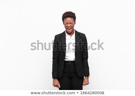 Photo stock: Ethniques · femme · d'affaires · hurlant · portrait · asian · shout