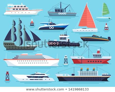 rajz · vitorlás · hajó · illusztráció · csónak · fa · háttér - stock fotó © rastudio
