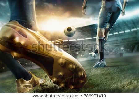 futballista · kék · rúg · labda · fehér · sport - stock fotó © photography33