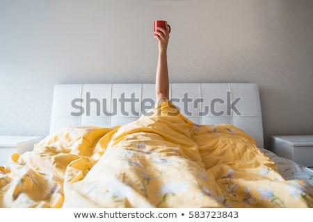 matin · café · belle · femme · tasse · visage · heureux - photo stock © oneblink