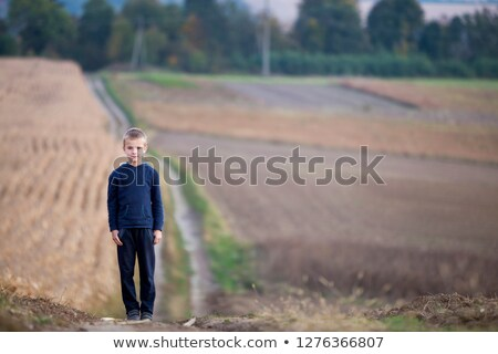 Young blonde boy standing in a grassy field stock photo © foto-fine-art