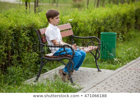 kicsi · fiú · ül · fű · áll · pihen - stock fotó © foto-fine-art