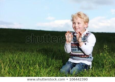 Stock fotó: Kicsi · fiú · térdel · zöld · mező · napsütés
