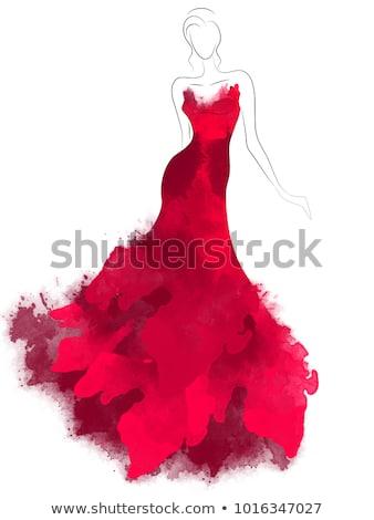 csinos · hölgy · vörös · ruha · klasszikus · pinup · kép - stock fotó © dolgachov