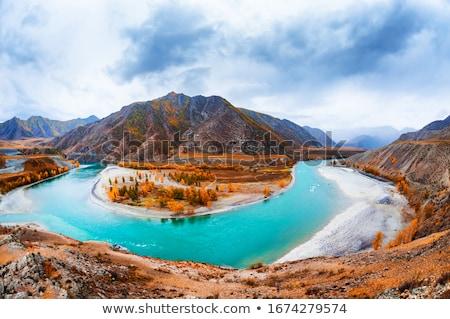 Rzeki zdumiewający górskich krajobraz chmury lasu Zdjęcia stock © zastavkin