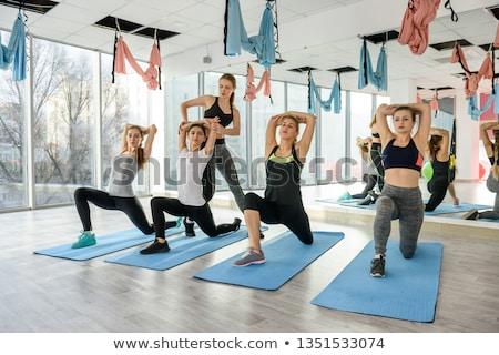 Photo stock: Aérobic · pilates · aider · femmes · groupe