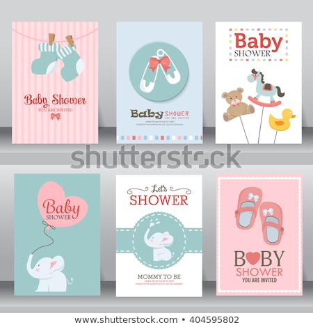 baby shower card with duck toy stock photo © balasoiu