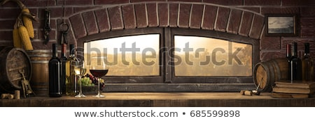 still life with wine bottles and glasses stock photo © stockyimages