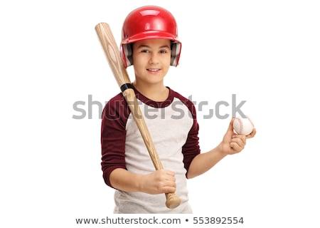 kid baseball player holding baseball and bat stock photo © chromaco