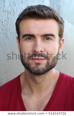 Fiatal görög amerikai férfi kecskeszakáll kék Stock fotó © ozgur