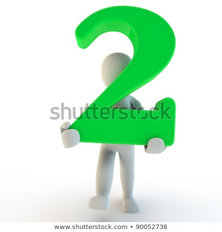 Stock photo: 3D Human charcter holding number two