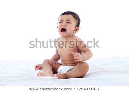 Indiai baba sír szürke szemek gyermek Stock fotó © ziprashantzi