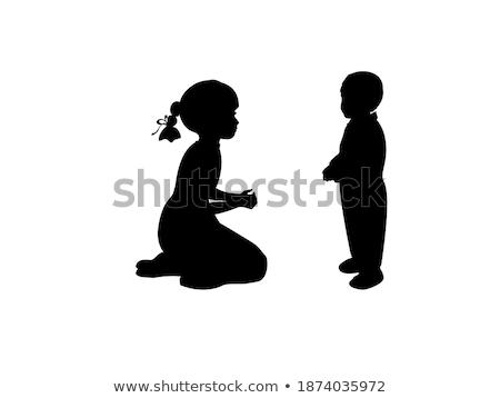 homem · mulher · dois · crianças · silhueta - foto stock © Paha_L