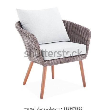 Comfortabel outdoor meubels gestreept Stockfoto © jrstock