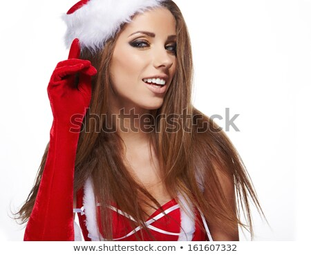 girl wearing santa claus clothes with copy space stock photo © stepstock