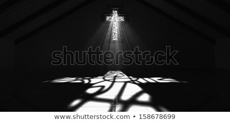 Stained Glass Window Crucifix Black And White Stock photo © albund