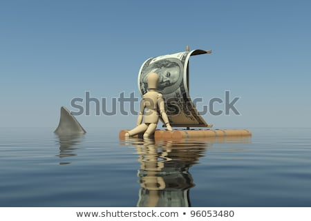 The wooden man floats on a raft with a sail from the dollar Stock photo © cherezoff