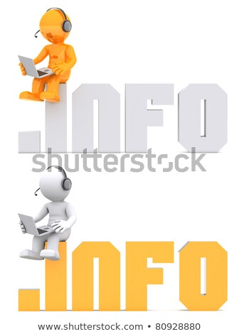 3d character sitting on info domain sign stock photo © kirill_m