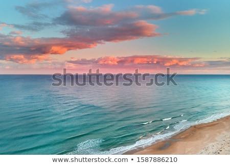 mediterraneo · mare · tramonto · orizzonte · arancione · sole - foto d'archivio © lunamarina