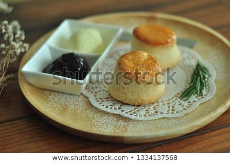 Túró bambusz tányér étel pite étel Stock fotó © Photoline