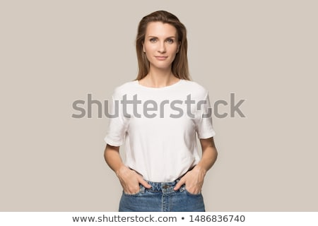photo of attractive blonde lady posing smiling stock photo © neonshot