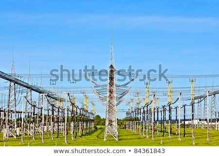 elétrico · usina · belo · colorido · prado · torre - foto stock © meinzahn